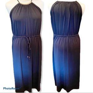 22/24 Lane Bryant black maxi dress with gold bar